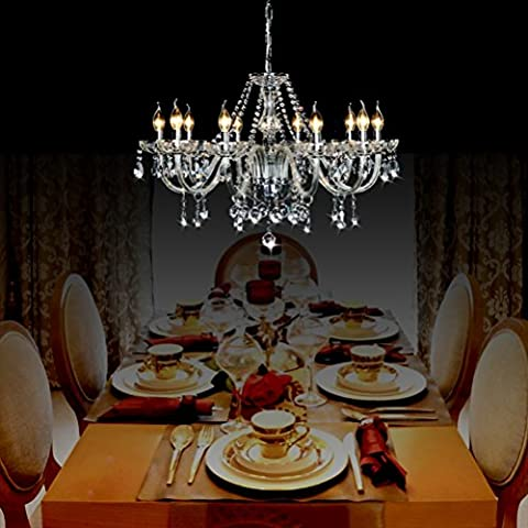 Ella Fashion® Candlestick Crystal Chandelier For Restaurant Church Candle Chandelier Lighting Hotel Ceiling Hanging Fixture Pendant Lamp 10 Lights for Kitchen Living Dining Room Wedding Cafe Foyer 31.5 Inch X 47.2 Inch