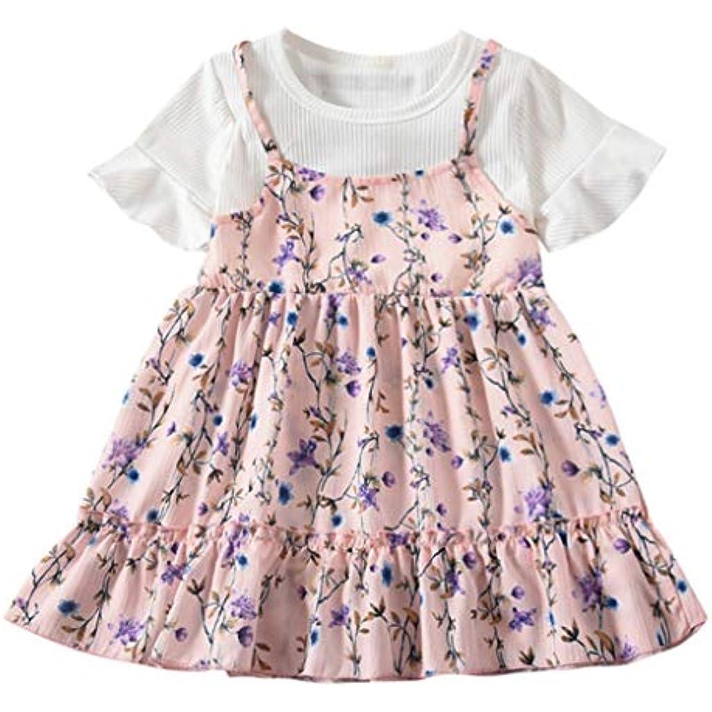 Amlaiworld Vestidos de Fiesta de bebés niña Verano Vestidos Estampados de  Flores con Pliegues en Mangas de niñas Ropa 406081f7efa