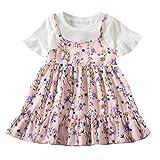 LEXUPE Baby Kleidung Mädchen, Kleinkind Kinder MäDchen Fliegen äRmel Geraffte Blumen Blumen Print Kleider Kleidung
