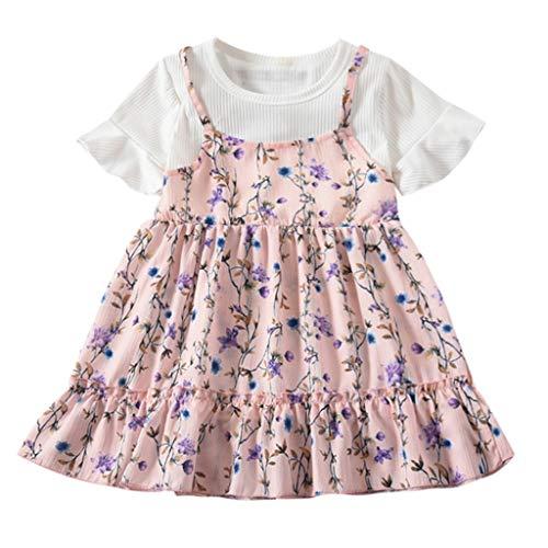 HEETEY Kleinkind-Baby scherzt Mädchen Fly Sleeve Rundhalsausschnitt Rüschenheftung gefälschte Zweiteilige Floral Flowers Print Dresses Clothes