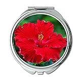 Yanteng made bureau rouge hibiscus fleurs nature Wallet miroir, miroir de maquillage,...