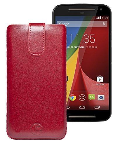 Favory Etui Tasche für / Motorola Moto G 4G LTE (2. Gen.) / Leder Handytasche Ledertasche Schutzhülle Case Hülle *Lasche mit Rückzugfunktion* in rot