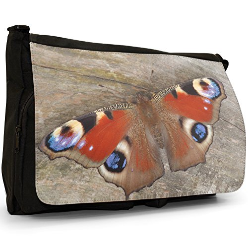 Fancy A Bag Borsa Messenger nero Butterflies On Leaf Peacock Butterfly Sitting on Wooden Table