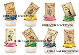 25x Alice im Wunderland Spielkarten Stand Up Essbare Papier Cupcake Topper Kuchen Dekorationen