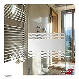 Glasdekorfolie Dusche - MADE IN GERMANY - Folie für Duschkabine Sichtschutz Bad Fensterfolie Wellen satiniert ORAFOL® + kostenlose Maßanfertigung (siehe 2. Produktbild)
