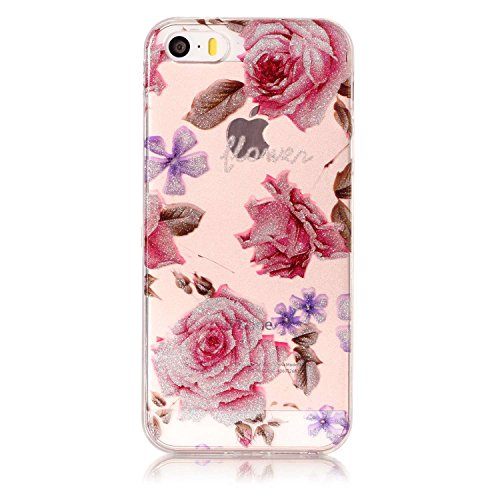 Linvei TPU Coque - pour Apple iPhone 5 5S SE Silicone Étui Housse Protecteur - Design Motif Coloré - Fleur Rose Fleur Rose