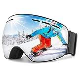 OMORC Lunette de Protection Ski Masque OTG Casque Compatible UV400 Ventilation en Deux Voie Double-Lentille Anti-Brouillard 180° Unisexe pour Sport d'hiver/Ski/Snowboard/Moto/VTT Gris