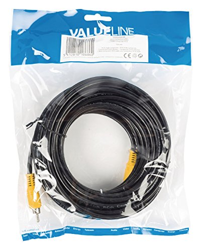 Valueline 10m RCA m/m - cables de vídeo compuesto (RCA, RCA, Macho/Macho, Negro, Cloruro de polivinilo (PVC), Bolsa de plástico)