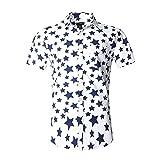NUTEXROL Camisa de Hombre con Estampado de Estrellas Camisa de Manga Corta de Algodón, Azul Oscuro,XXXL