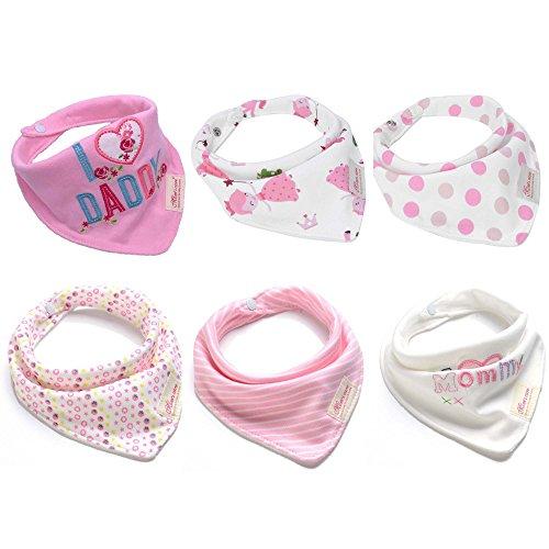 Baby Dreieckstuch Lätzchen 6er Pack Halstücher Spucktücher Sabberlätzchen mit Druckknöpfen für Mädchen Kleinkinder Neugeborenes Baby Geschenk Saugfähig Weich Größenverstellbar