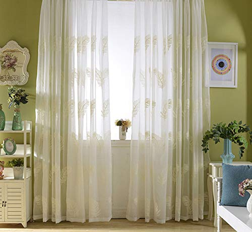 BW0057 Sheer Curtain Panel Embroidery Rod Pocket Top for Living Room Kichen (1 Panel W 50 x L 95,inch) - Sheer Cherry