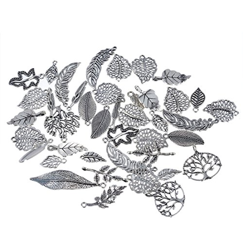 Souarts 1 Set Antik Silber Farbe Blatt Schmuckzubehör Basteln Charms Anhänger Für Halskette Armband 20St (20 Anhänger Halskette)