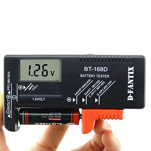 D-FantiX Digitaler Batterietester Batterieprüfer Batterie und Akku Volt Prüfgerät für AA AAA C D 9V 1.5V Knopf Knopfzellen-BT-168D
