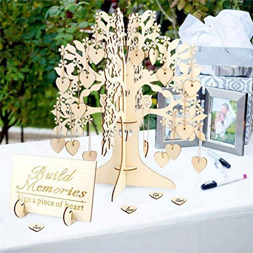 Gaddrt matrimonio guest book albero cuori di legno ciondolo goccia ornamenti decorazione per feste-per la festa di nozze baby shower decorazione di compleanno forniture