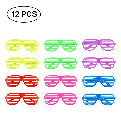 Zhi Jin 12Pcs Plastic Slotted Shades Shutter Shading Glasses Assorted colors for Kids Men Women Night Party