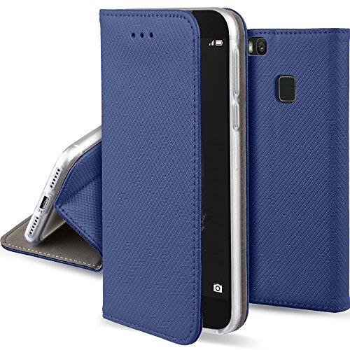Moozy Hülle Flip Case für Huawei P9 Lite, Dunkelblau - Dünne Magnetische Klapphülle Handyhülle mit Standfunktion