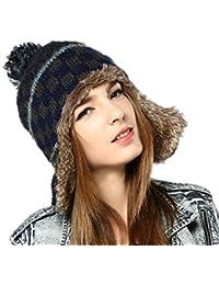 ca2a9cff008 Kenmont Women Winter Cute Faux Fur Thicken Acrylic Knit Earflap Hat Beanie  Cap (Navy Blue