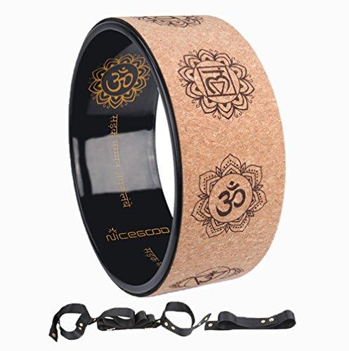 A-Flower Yoga-Rad Naturkork Dharma-Übungsrad 32cm x 12.5cm zur Verbesserung der Körperhaltung und zum tieferen Dehnen mit Gurt