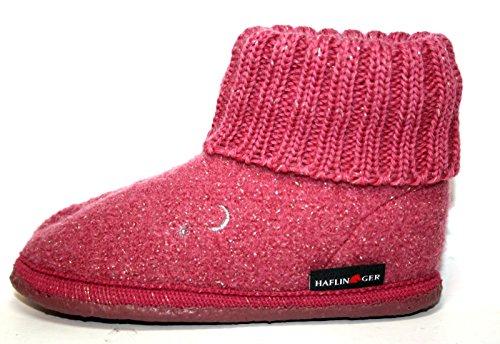 Haflinger 634107 0 20 Mädchen Hausschuhe, Hüttenschuhe Sternchen Azalee Pink