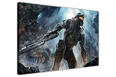 """Affiche sur toile Halo Master Chief Battle , Agrafes Toile Bois dense, 08- A1 - 30"""" X 24"""" (76CM X 60CM)"""