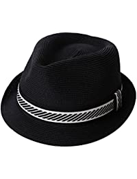 10d2619d SiggiHat Panama Summer Fedora Trilby Straw Sun Hats For Men Safari Beach Hat  - Foldable -
