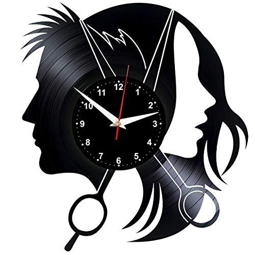 """EVEVO Peluquería Reloj De Pared Vintage Accesorios De Decoración del Hogar Diseño Moderno Reloj De Vinilo Colgante Reloj De Pared Reloj Único 12\"""" Idea de Regalo Creativo Vinilo Pared Reloj Peluquería"""