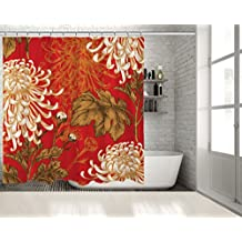 """Positive Home Chrysanthemum Flowers Branches Leaves on Red Background Classic Oriental Floral Art White Gold Brown Shower Curtain 70""""wide X 75""""long"""
