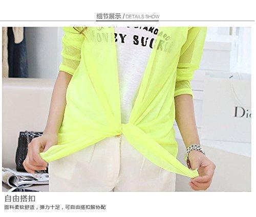DaBag Donna Manica Lunga Camicia Di Protezione solare Casual Top in Chiffon Giallo chiaro