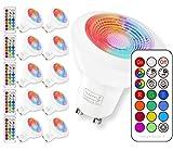 GU10 LED RGBW Lampe mit Fernbedienung|led Downlight| Kaltweiß(6000 Kelvin)| MR16 GU10 farbwechsel led | 3W ersetzt 20W Watt Halogen|Dimmbare Birne mit RGB|für Ambiente Party Deko(10 Pack GU10 RGB+6000K)