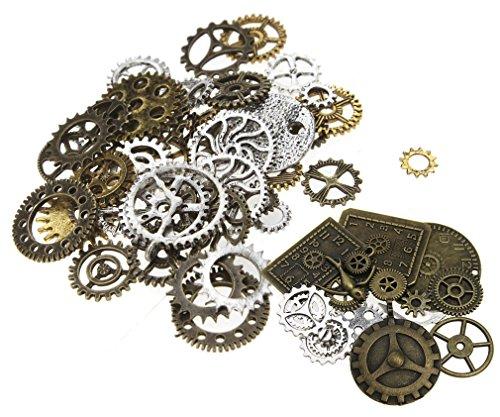 Perlen Uhr Anhänger Steampunk-Sets mit Zahnräder für Basteln Schmuck (5 Person, Halloween-thema)