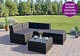 Abreo Rattan Modular Corner Sofa Set Garden Conservatory Furniture 5 To 9 Pcs (Faro, Dark Mixed Grey with Dark Cushions)