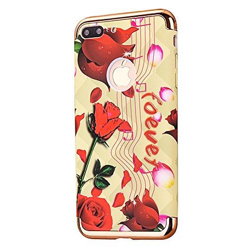 """Protecteur étui avec Détachable Plating Border pour Apple iPhone 7Plus 5.5""""(NON iPhone 7 4.7""""), CLTPY Mode Beau Flower Impression Motif Nocturnes Lumineux Case en Dur Plastique, Ultra Fine Slim Bumper Notes et Rose"""