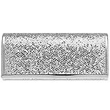 CASPAR TA395 Damen elegante Glitzer Clutch Tasche/Abendtasche mit Metallspange, Farbe:silber;Größe:One Size