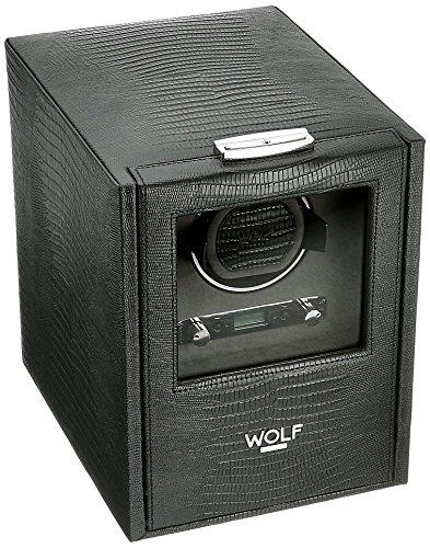 Wolf Designs Blake único reloj Winder con almacenamiento negro Lagarto