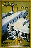 Blechschild Nostalgieschild Lufthansa Luftreisen Propeller Flugzeug retro Schild