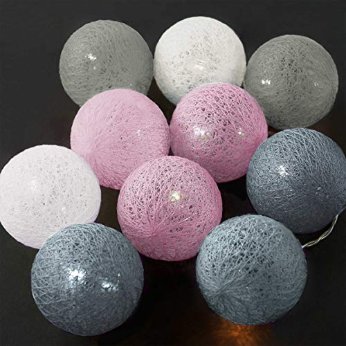 Butlers In the mood Cotton Ball LED Deko Lichterkette mit 10 Kugeln in Rosa - warmweißes Licht mit Lampions aus Baumwolle - 275 cm batterie-betriebene Lichterkette für Zimmer
