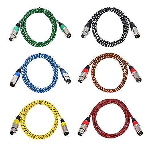 Couleur Câble XLR jltph 2m/2Câbles Chemin Audio Professionnel 6Couleur équilibrée XLR mâle à femelle Câbles Cordon (Lot de