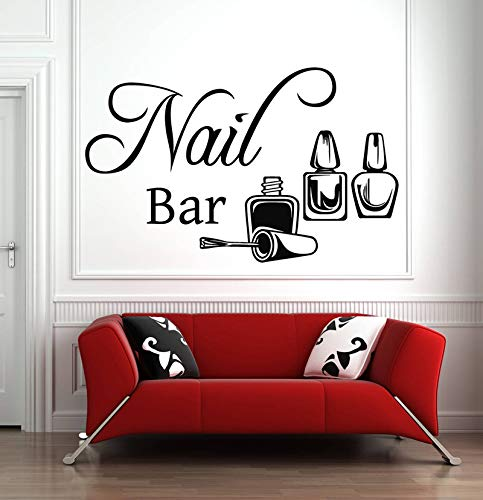 Nagelstudio Zeichen Wand Fenster Aufkleber Aufkleber Nägel Nagellack Maniküre Pediküre Wandtattoos Beauty Salon Raumdekoration 91X57Cm