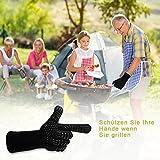 AOMEES Grillhandschuhe Ofenhandschuhe - Hitzebeständig BBQ Handschuhe 500 ° C / 932 ° F 1 Paar: Rutschfeste Perfekt zum Kochen Grill & Feuerplatz Zubehör Backhandschuhe mit EN407 Zertifizierte - 4