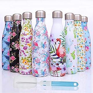 Edelstahl Thermo Trinkflasche 500ml, wasserflasche - Doppelwandig Vakuum Edelstahl - für Sport Fitness Laufen Camping-Auslaufsichere -BPA frei+Reinigungsbürste