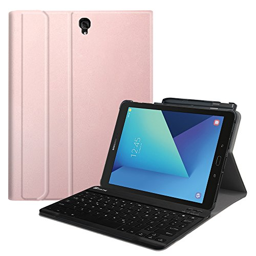Fintie Tastatur Hülle für Samsung Galaxy Tab S3 T820 / T825 (9,68 Zoll) Tablet-PC - Ultradünn leicht Ständer Schutzhülle mit magnetisch Abnehmbarer drahtloser Deutscher Bluetooth Tastatur, Roségold