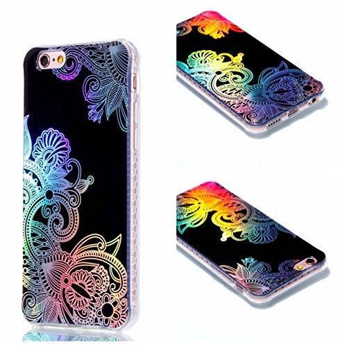 Apple iPhone 6 Plus/6S Plus 5.5 Hülle, Voguecase Schutzhülle / Case / Cover / Hülle / Plating TPU Gel Skin (Schwarz-Lady 14) + Gratis Universal Eingabestift Schwarz-Buntes Muster 02