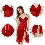 Amilia Lingerie Femme Rouge Lace Seduction Sexy Erotique Unique Nightwear Robe de Nuit Coquine Taille Euro Transparent (Small) - 3