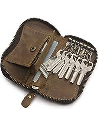 Teemzone Unisex Monedero con Cremallera Compacto Llevaro de piel Vacuno para 6 Llaves Estuches de llave Carteras Cubierta de Anillo Clave