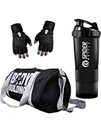 Udak Combo of Gym Accessories Kit, 20l Grey Body Building Gym Bag + Hand Support Black Gym Gloves + 700ml Grey Tablet Shaker Bottle/Protein Shaker/Sipper for Both Men's & Women's, Boy's & Girl's.