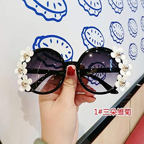 MOJINGYAN Sonnenbrillen,Sommer Sonnenbrille Frauen Süße Blume Mit Strass Runde Sonnenbrille Vintage Retro Gläser Für Damen Farben Schwarz