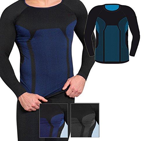 Skiunterwäsche für Herren als Hemd-Hose-Set oder 2 Hemden oder 2 Hosen auswählbar, Langarm, funktionelle Thermowäsche seamless ohne störende Nähte S/M & L/XL 2x Langarm schwarz/blau A
