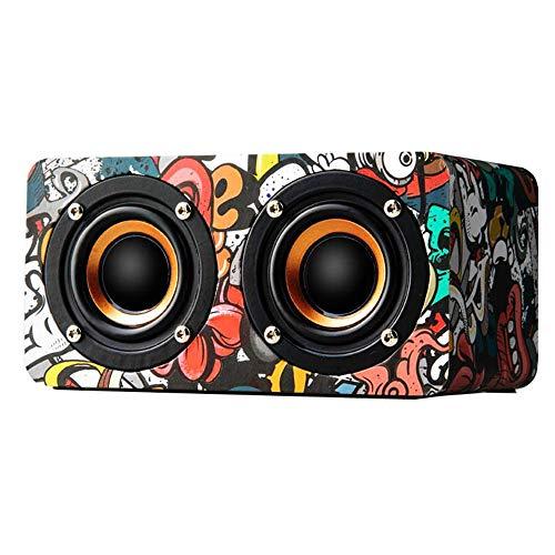 Guowy Portable Bluetooth 4,0 Wooden Hi-Fi Lautsprecher Subwoofer FM Radio Mit Call-Funktion TF 2000Mah,Multicolor