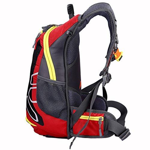 SHTH 15L Wasserdicht Fahrrad Schulter Rucksack Wasser Reisetasche Ultralight für Radsport Outdoor Reiten Bergsteigen Hydration Rot
