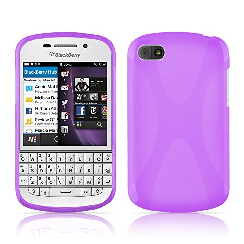 Cadorabo Hülle für BlackBerry Q10 Hülle in Handyhülle aus flexiblem TPU Silikon im X-Line Design Silikonhülle Schutzhülle Soft Back Cover Case Bumper Flieder Violett